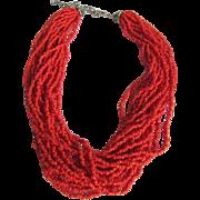 Vintage Italian Sardinian red Natural Coral Torsade Seed bead necklace