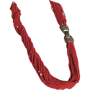 Vintage Sardinian Red Italian Coral Torsade Seed Bead Necklace with Certified Appraisal $2150