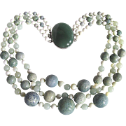 Artisan Remix Jadeite Cabochon SP Clasp on 3 Strand Graduated Sponge Coral, MOP, White Coral & Jade bead Necklace