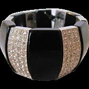 Vintage Black Bakelite and Rhinestone Panel Stretch Bracelet