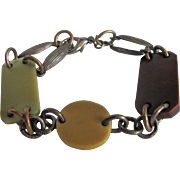 Art Deco Galalith links with Aged Patina Brass Findings Bracelet
