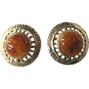 "Vintage Art Deco Style Stamped ""Ellen Designs"" Bakelite Tea Swirl Cabochon Retro Clip Earrings"