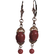 Vintage 14kt GF Sardinian Red Natural Italian Cannetille Coral Cabochon Drop Leverback earrings