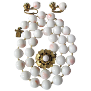 30's Unsigned Miriam Haskell Demi Parure Faux Coral Glass Necklace & Earrings