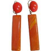 Upcycled ReMixed Orange Bakelite & Transparent Lucite Bottoms  GP Dormeuse Earrings