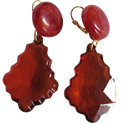 Little Creations ReMixed Amber Swirl Bakelite & Transparent Lucite Bottoms GP Dormeuse Earrings