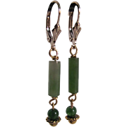 Vintage 14kt GF Nephrite Jade Cylinder French Clip Pierced Earrings