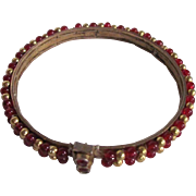 Victorian Pinchbeck Ruby Red Glass Beads with Bezel Set Paste Clasp Bracelet