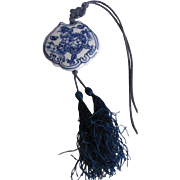 Vintage Chinese Porcelain Blue China Pendant on Silk cord