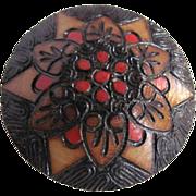 Vintage Folk Art Wood Burned Hand Crafted Brooch