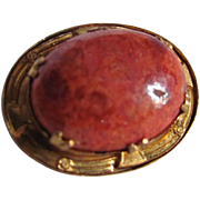 Victorian Revival  GP Apple Coral 26mmx18mm Cabochon Brooch