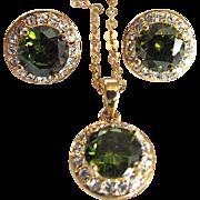 Vintage Peridot Glass Faceted & CZ Demi Parure & GF Chain & Pendant & Earrings  Set