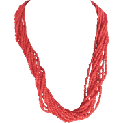 Vintage Sardinian Natural Red Japanese Coral Torsade Seed Bead Necklace with Certified Appraisal $1850