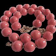 Vintage Sponge Coral Natural Rosy Angel Skin 20mm Necklace & Bracelet with Certified Appraisal $1600