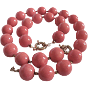 Vintage Sponge Coral Natural Rosy Angel Skin 20mm Necklace & Bracelet with Certified Appraisal $1600