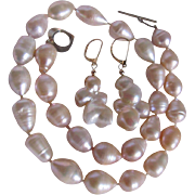 Vintage 15mm Cultured Baroque South Sea Ringed Pearl Necklace and Earrings with *Certified Appraisal* $820