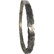 Vintage Hand Forged Low Silver Braided Style Bangle Bracelet