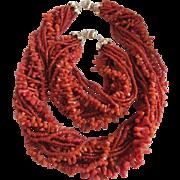 Vintage 14kt Gold Natural Oxblood Italian Coral Torsade Demi Parure Certified Appraisal $2575