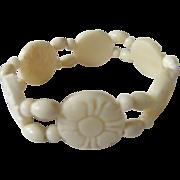 Vintage Stretch Carved Bone Flower Link Bracelet