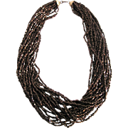 Vintage Japanese Metallic Copper Glass Seed Bead Torsade Necklace