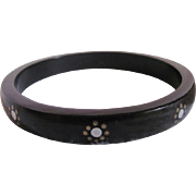 Victorian Revival Horn Black Mourning Pique Inlaid Hand painted Bangle