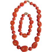 Vintage 14kt GF Natural Salmon Coral Graduated Nugget Necklace and Bracelet  *Certified Appraisal* $1745