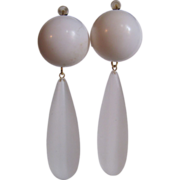 Upcycled GP Dormeuse Pierced  Vanilla Domes with Frosted Lucite Drops Earrings