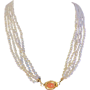 Vintage 18kt GP Angel Skin Coral Cabochon Clasp & Natural Freshwater Rice Pearls 5 strand Torsade Necklace with Certified Appraisal