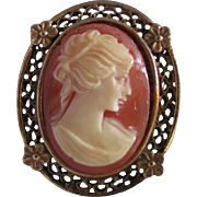 Victorian Revival Vintage Shell Cameo in Fancy Gold Plated Frame Brooch