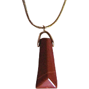 Egyptian Revival Pyramid Shaped Hand Carved Jasper Pendant on GP Snake Chain