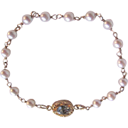 Vintage 18kt GP Cultured Pearl Wired with a Blue Topaz Clasp Bracelet with Certified Appraisal $695