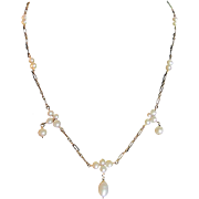 Victorian Revival Keshi Natural Freshwater Pearls & 18kt GP Citrine Clasp with Certified Appraisal $425