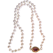 Vintage 18kt GP Pink Topaz Clasp & Cultured Pearl 4mm Necklace with Certified Appraisal $760