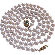 Vintage 18Kt GP Blue Topaz Clasp & 6.5-7mm Cultured Pearl Necklace
