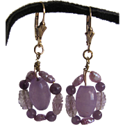 Little Creations 14kt GF Wired Design Genuine Carved Amethyst/ Freshwater Natural Pearl Earrings on Leverbacks