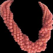 Vintage 22kt GP Angel Skin Enhanced Coral Torsade Certified Appraisal $2445