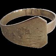 Vintage Signed Whiting & Davis Co. GP Engraved Asymmetrical Cuff Bracelet