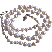 Vintage Ruby Set Clasp Very Fine Akoya Graduated Cultured Pearl Necklace with Certified Appraisal $1425