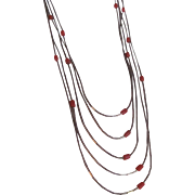 Vintage 5 Strand Liquid Silver Natural Coral Necklace with Certified Appraisal $520