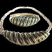 Vintage Signed Coro Faux Emerald Baguette Demi Parure Cuff Bracelet & Necklace