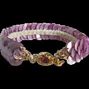 Vintage 18kt GP Pink Topaz Clasp & Lavender Dyed Motherof Pearl Discs Bracelet