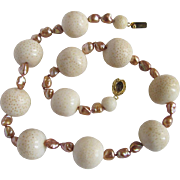 Little Creations 18kt. GP Natural Sponge Coral & Champagne Enhanced Keshi Freshwater Pearls with Smokey Quartz Stone Necklace