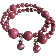 Artisan Remix of  Antique Clay Composite Bead with Chinese Fuchsia Keshi Freshwater Enhanced Pearls on Memory Wire Bracelet
