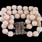 Antique Rose GP 10mm Angel skin Coral Bracelet with *Certified Appraisal* $1285