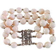 Antique Victorian Rose GP 10mm Angel skin Coral Bracelet with *Certified Appraisal* $1285