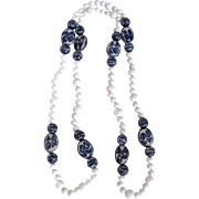 Joie de l'Orient Chinese Export Blue & White Porcelain/White Coral/Milk Glass Bead Hand Knotted Necklace