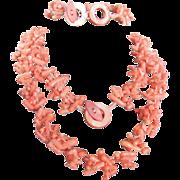 Vintage Angel skin Carved Branch Coral Demi Parure/Bracelet & Necklace with Certified Appraisal $1765
