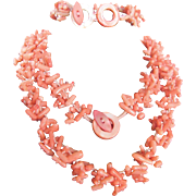 Vintage Angel skin Carved Branch Coral Demi Parure/Bracelet & Necklace with Certified Appraisal $1765