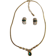 Vintage Faux Emerald Vendome Signed Necklace & Earrings