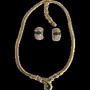 Vintage Faux Emerald Vendome Signed Necklace & Earrings